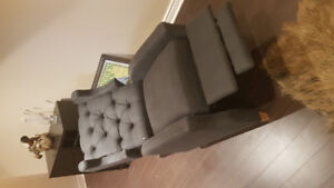 Recliner chair, charcoal Grey (model Cohen tufted from wayfair)