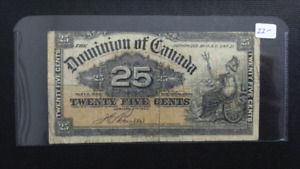 Canadian 1900  25 Cents Bank Note