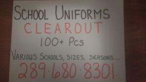 SCHOOL UNIFORMS LIQUIDATION!  ACT FAST! VARIOUS SCHOOLS.