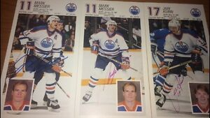 EDMONTON OILERS AUTOGRAPHED TEAM ISSUED CARDS - MESSIER + OTHERS