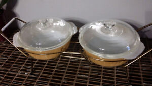 "2 Vintage FIRE KING Peach Luster 8"" Bowls with StandBowls are 8"