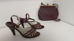 Burgandy high heel strap shoes with matching bag