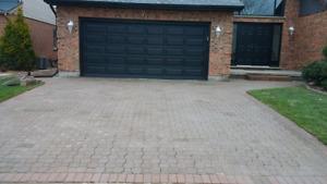 Cement parging & interlocking brick driveways