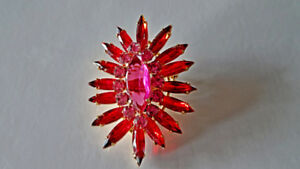 Red and Pink Crystal Brooch