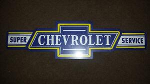 Super Chevrolet Service Sign Metal Embossed GM Man-Cave