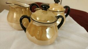 Vintage Small Teapot, Creamer and Covered Sugar