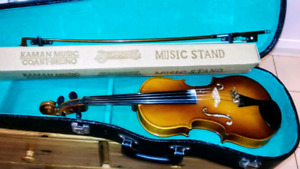Stradivarius Violin with Case and a music Stand