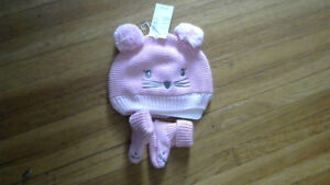 Baby Girls Pink Kitty Hat and Booties Set 0-6 Month[NWT]