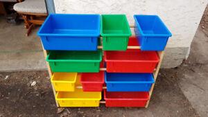 Toy Storage Bin Shelf with Bins