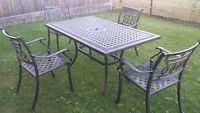 Cast aluminum patio set with  umbrella