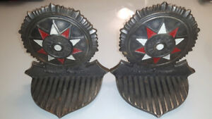 Walther League Enamel and Cast Iron Bookends Antique, Art Deco