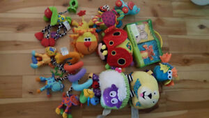 Set of sensory toys and books for babies