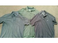 Mens Fat face Polo Shirts Tops Large Olive Green & grey x3