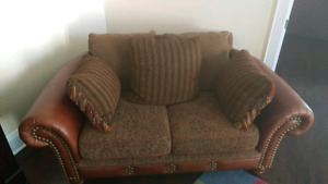 2 piece leather and velvet sofa set for sale