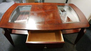Vintage mid-century cherrywood antique coffee table,