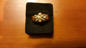 Ladies 10K gold puzzle ring with diamonds (from Afghanistan)