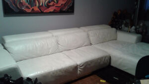 White leather couch with chaise