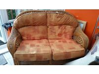 Wicker 2 seater + 2 chairs