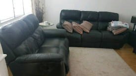 Recliner Leather used DFS Black Sofa - 3 seater and 2 seater available