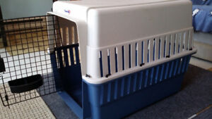 Plastic crates for house training,  child and dog safety etc.