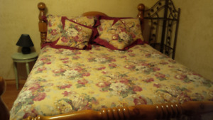 Duvet cover with skirt, pillow shams and pillows