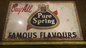 PURE SPRING - TIN ADVERTISING SIGN - FAMOUS FLAVOURS