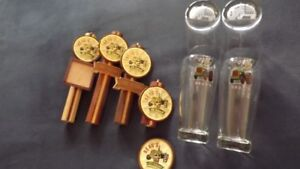 BEAUS BREWERY PACKAGE DEAL:4 TAP HANDLES+10 TALL GLASSES