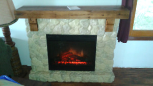 Electric fireplace and mantel
