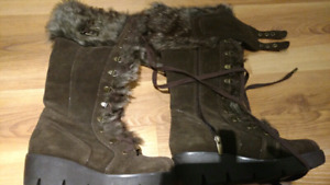 Suede winter brown boots