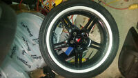 """set of 4 18"""" black with polished lip rims tires need replacing"""