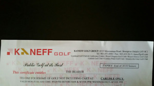 Kaneff Golf Certificate Foursome Carlise Golf Club $25 Each WOW!