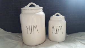 Brand new Rae Dunn big and baby YUM canister