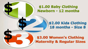 $1 Baby cloths $2 Kids cloths $3 Maternity & Women's cloth