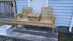 2 seat bench with table
