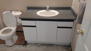 Bathroom vanity and counter top no sink or taps