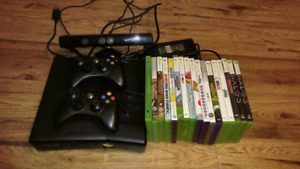 Xbox 360 with Kinect + 16 games + 2 controllers