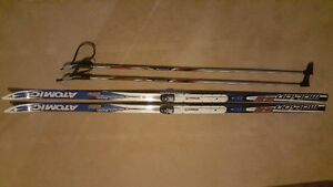 "Atomic Motion 52 Cross Country Skis with 52"" Poles. Length 177cm"