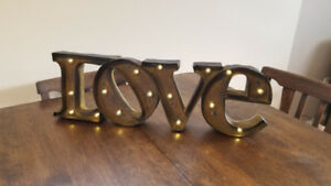 Rustic LOVE sign that lights up - used for wedding decor