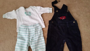 1-2 Piece Pajamas, 1 Cordiroy Coverall 3-6mths