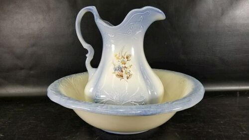 Vintage Ironstone Pitcher and Basin/bowl 1890 England Light Blue with flower