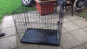 large 2 door dog crate with removable tray