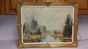 Beautiful landscape reproduction painting on board