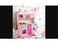 Brand New Boxed Kids Wooden Toy Kitchen Sweet Pea Play Girls Childrens Pink Wood