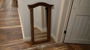 Mirror- Beautifully framed with oak and wicker