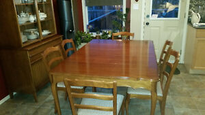 Cherrywood Kitchen or Dining Room Table with hutch