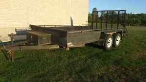 14 foot  landscape trailer trade for gas golf cart or??