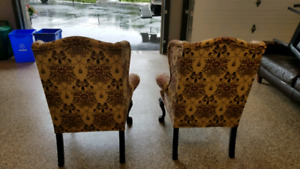 Wing back chairs with Chippendale Legs