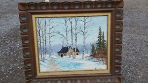 PRETTY WINTER OIL PAINTING