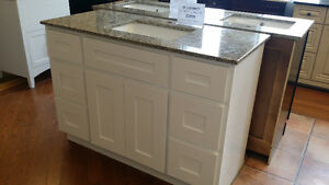 """VANITY 48"""" SOLID MAPLE WITH STONE TOP"""