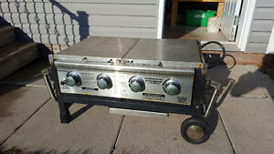 Tailgate grill. Packs up and sets-up easy.
